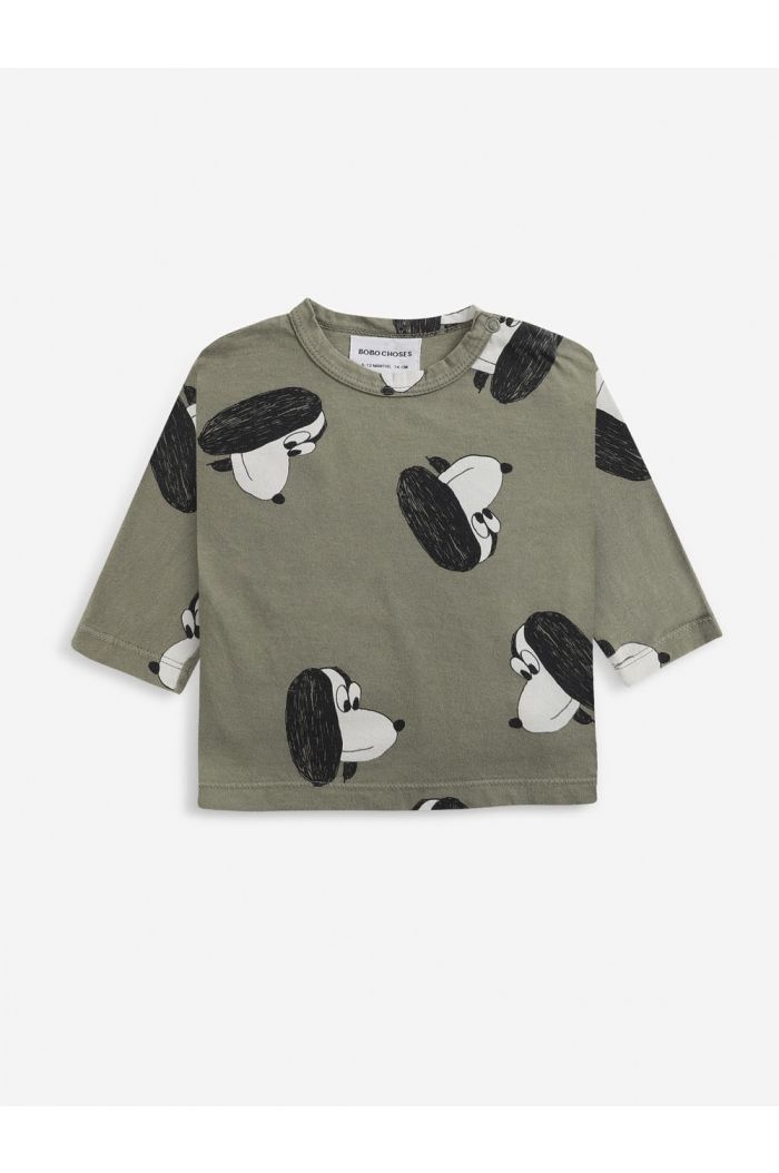 Bobo Choses Doggie All Over long sleeve shirt Baby Dried Herb_1