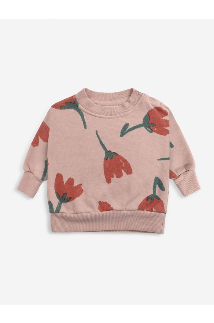 Bobo Choses Big Flowers All Over sweatshirt Rose Cloud_1