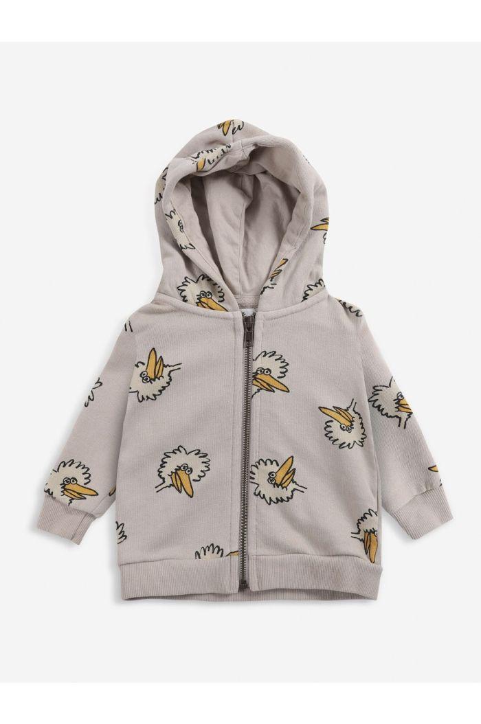 Bobo Choses Birdie All Over zipped hoodie  Rainy Day_1