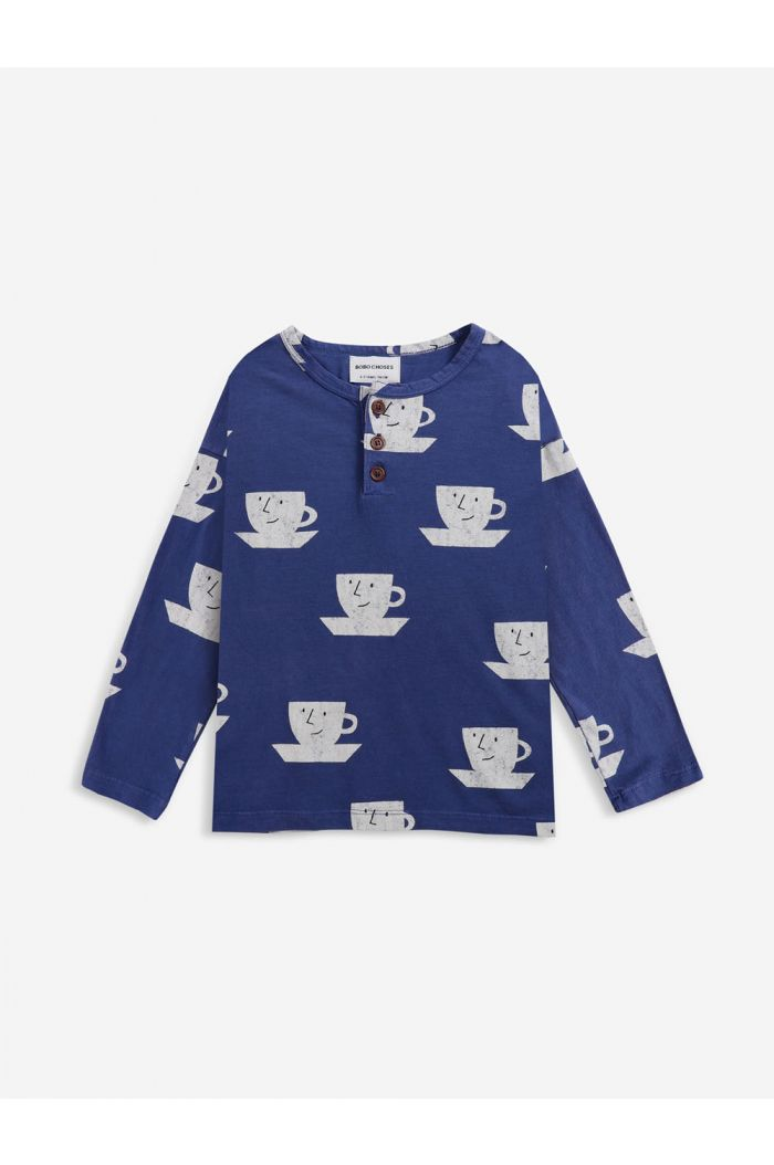 Bobo Choses Cup Of Tea All Over buttoned T-shirt Royal Blue_1