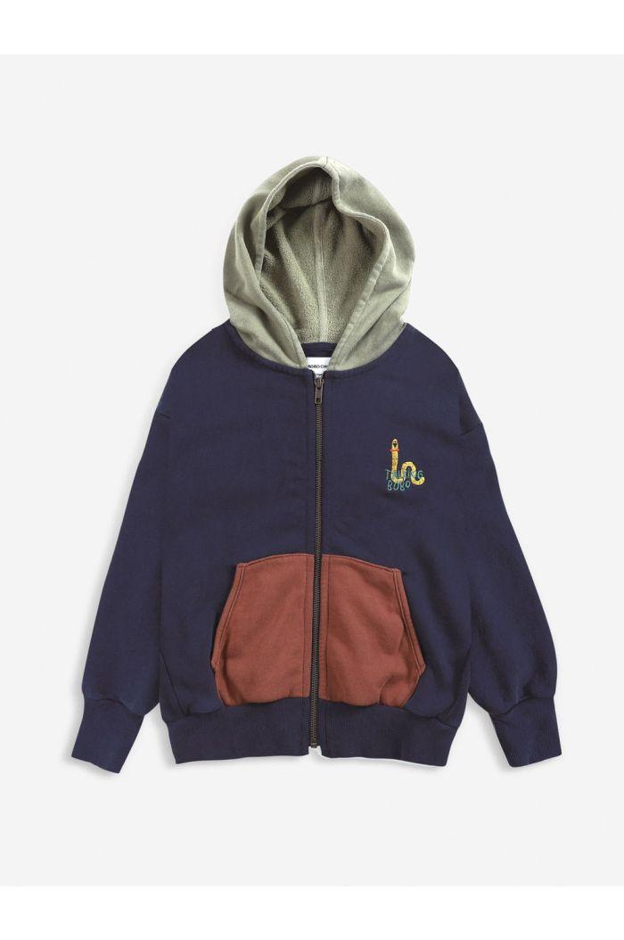 Bobo Choses Scholar Worm zipped hoodie Twilight Blue_1