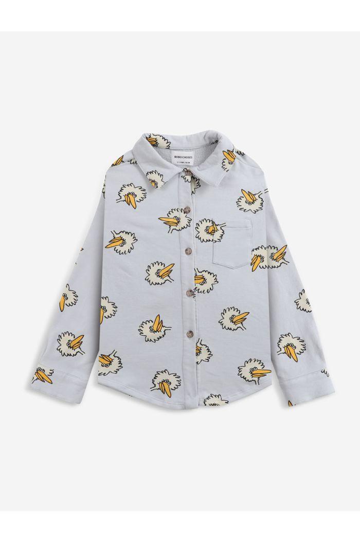 Bobo Choses Birdie All Over light fleece shirt Gray Violet_1