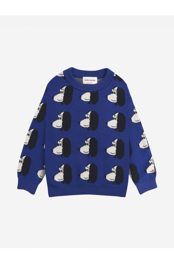 Bobo Choses Doggie All Over knitted jumper Royal Blue_1