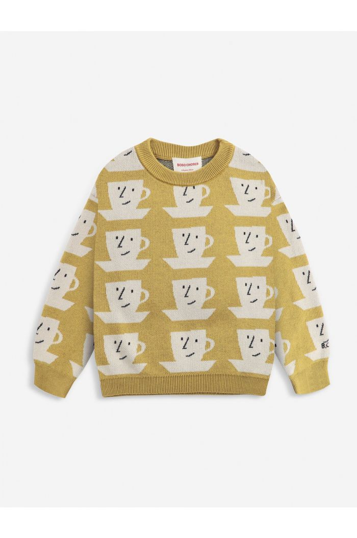 Bobo Choses Cup Of Tea All Over knitted jumper Apple Cinnamon_1