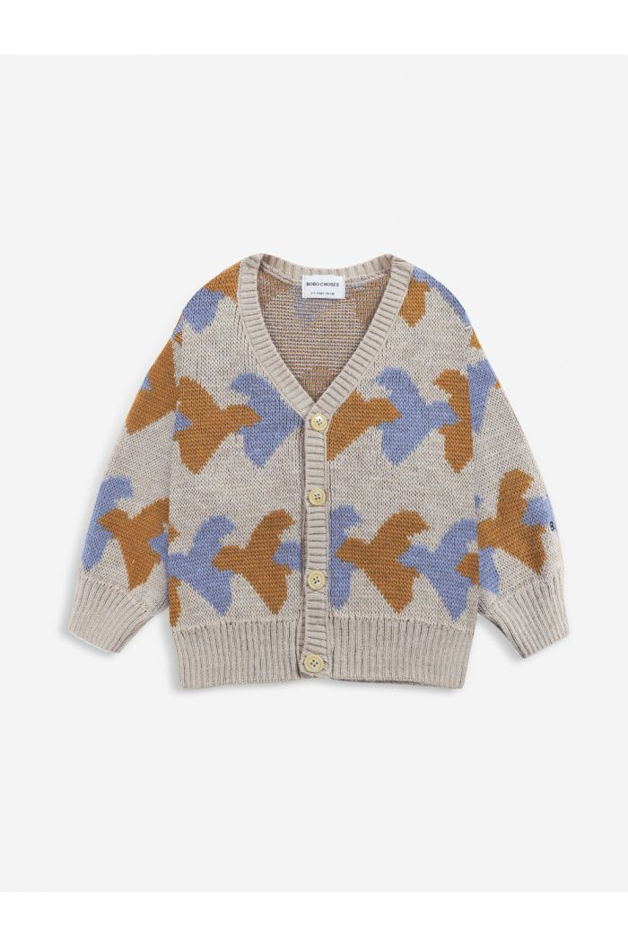 Bobo Choses Birds All Over knitted cardigan Porpoise_1
