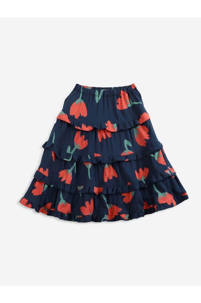 Bobo Choses Big Flowers woven ruffle skirt Twilight Blue_1
