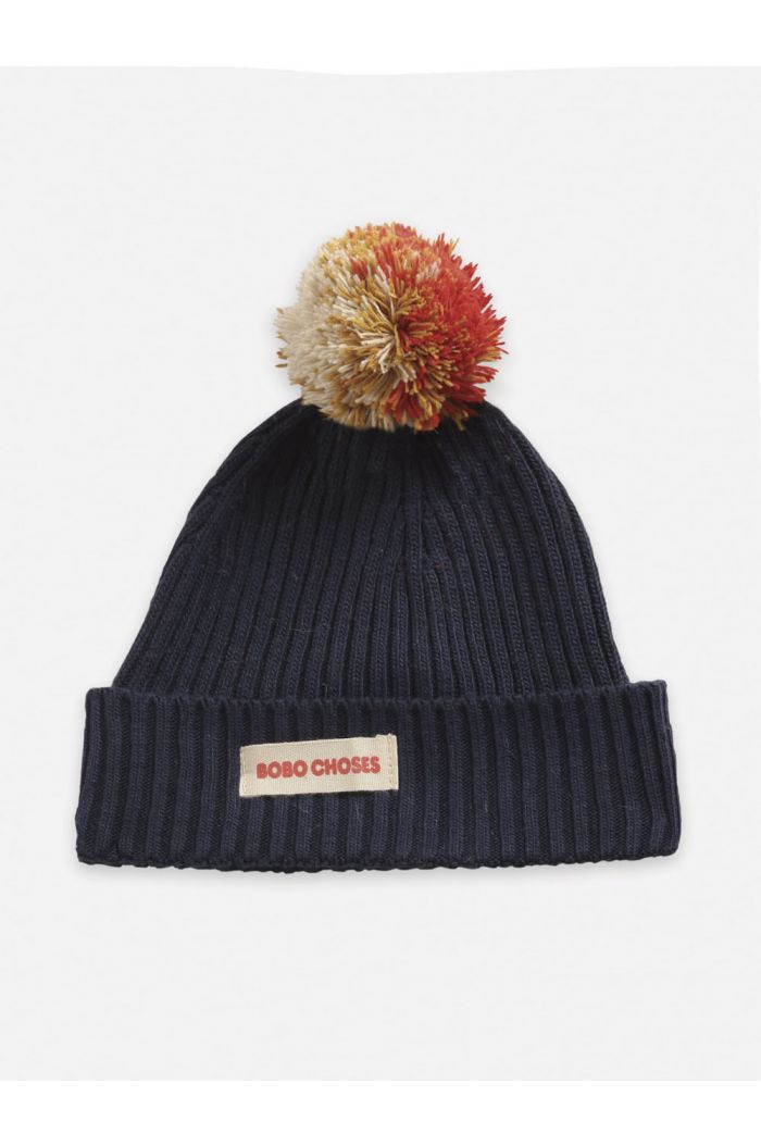 Bobo Choses Multicolor Pompom knitted  beanie Twilight Blue_1
