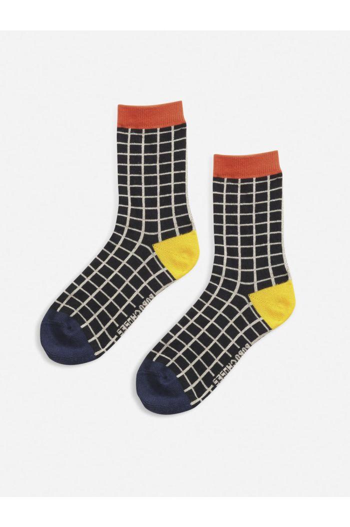 Bobo Choses Black Checkered short socks  December Sky_1