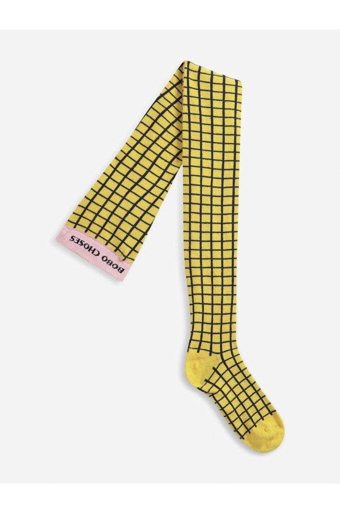 Bobo Choses Checkered Yellow tights  cadmium yellow_1