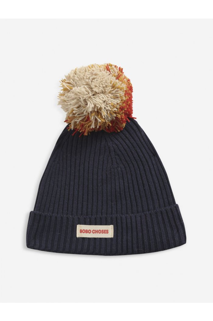 Bobo Choses Multicolor Pompom knitted beanie kids Twilight Blue_1