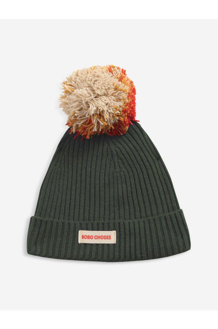 Bobo Choses Multicolor Pompom kakhi knit beanie  Dried Herb_1