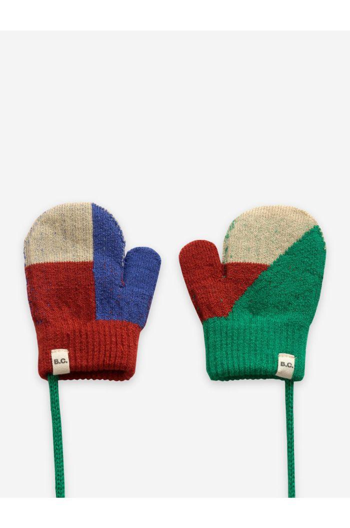 Bobo Choses Geometric knitted mittens Royal Blue_1