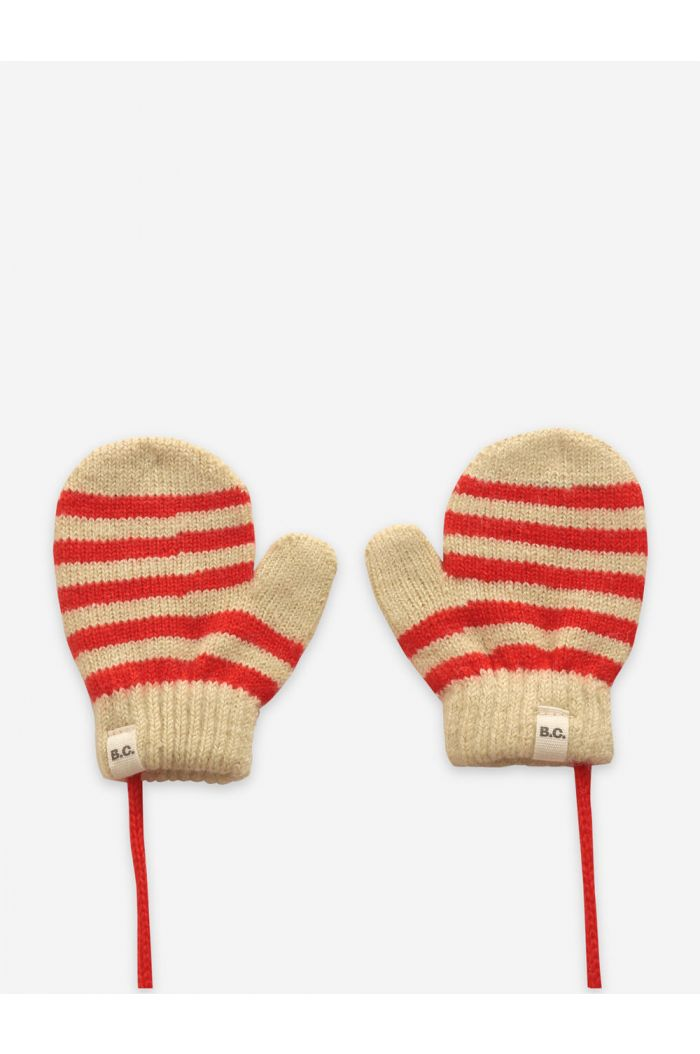 Bobo Choses Red Stripes knitted mittens Fiesta_1