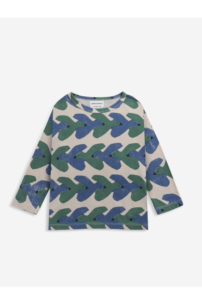 Bobo Choses Birds All Over long sleeve T-shirt Rainy Day_1