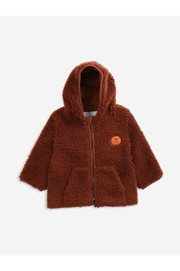 Bobo Choses Face embroidery hooded sheepskin jack Tandoori Spice_1