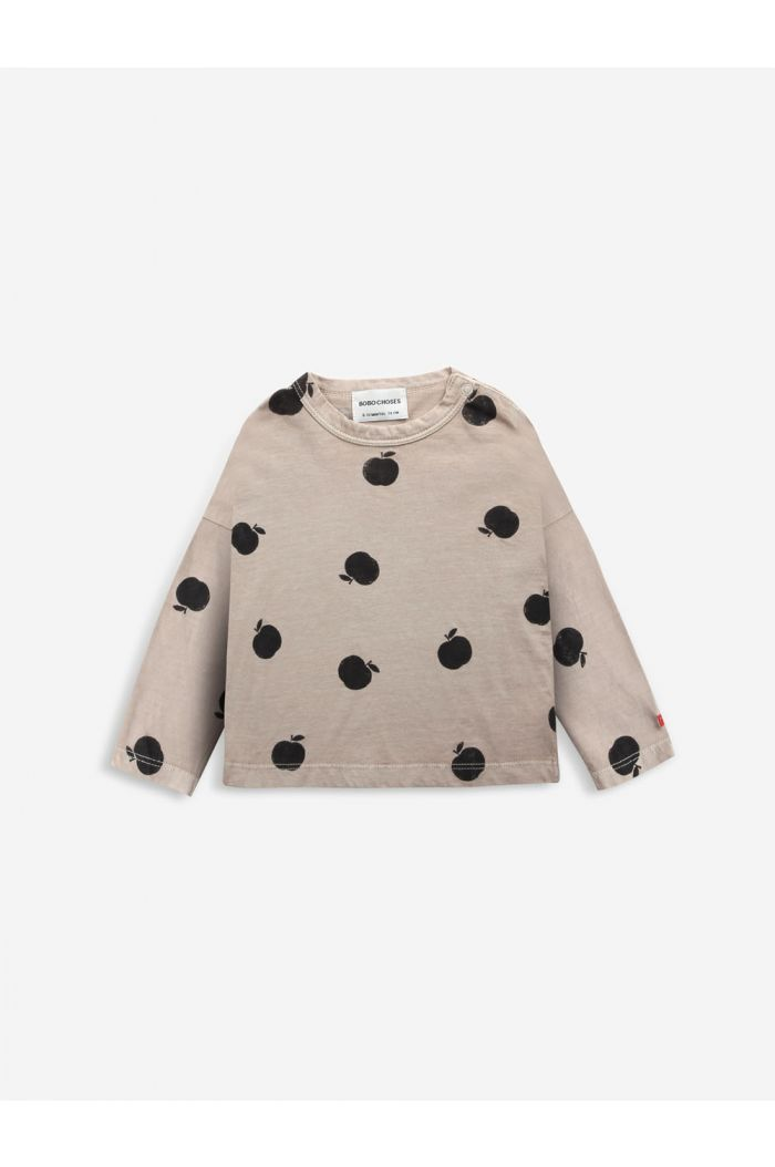 Bobo Choses Poma allover long sleeve T-shirt Café au Lait_1