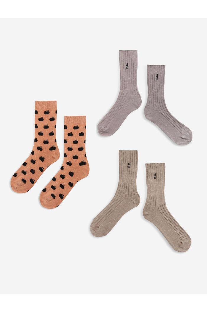 Bobo Choses BC long socks pack  Pale Mauve_1