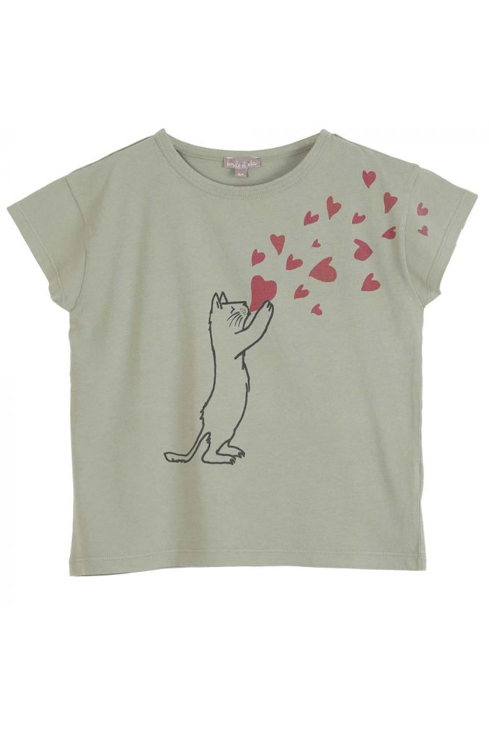 Emile et Ida Tee Shirt Sauge Chat Coeur