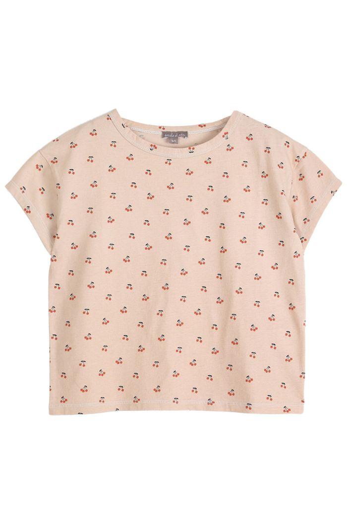 Emile et Ida Tee Shirt Coton Organique Cerises Creme Cerises_1