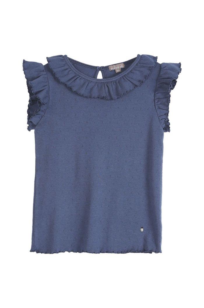 Emile et Ida Tee Shirt Modal Trou Trou Bleu Ajoure_1