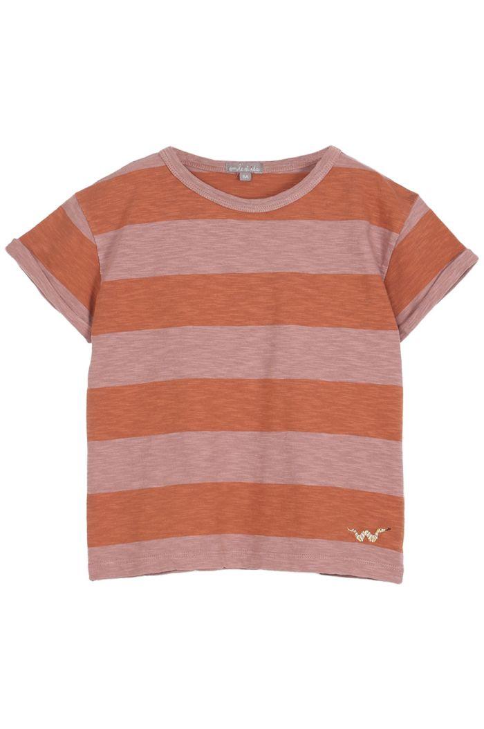 Emile et Ida Tee Shirt Coton Organic Raye Terre-Orange_1
