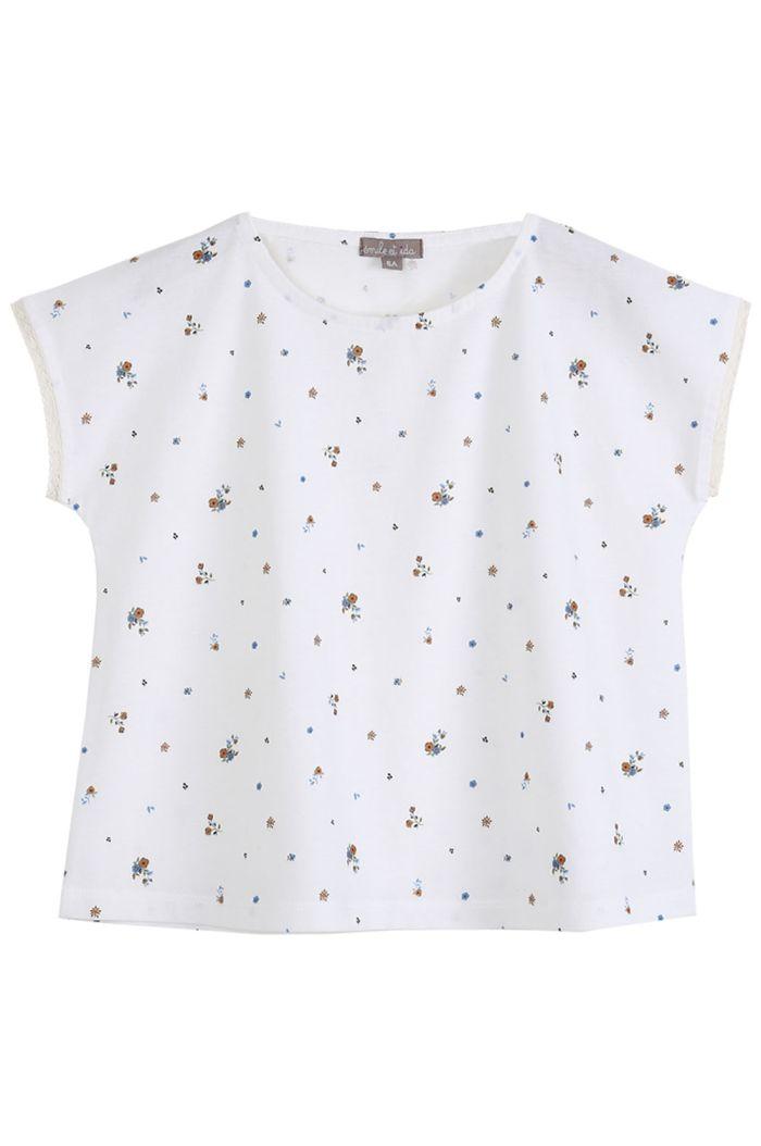 Emile et Ida Tee Shirt Coton Organic Fleurs Ecru Pensees Bleues_1