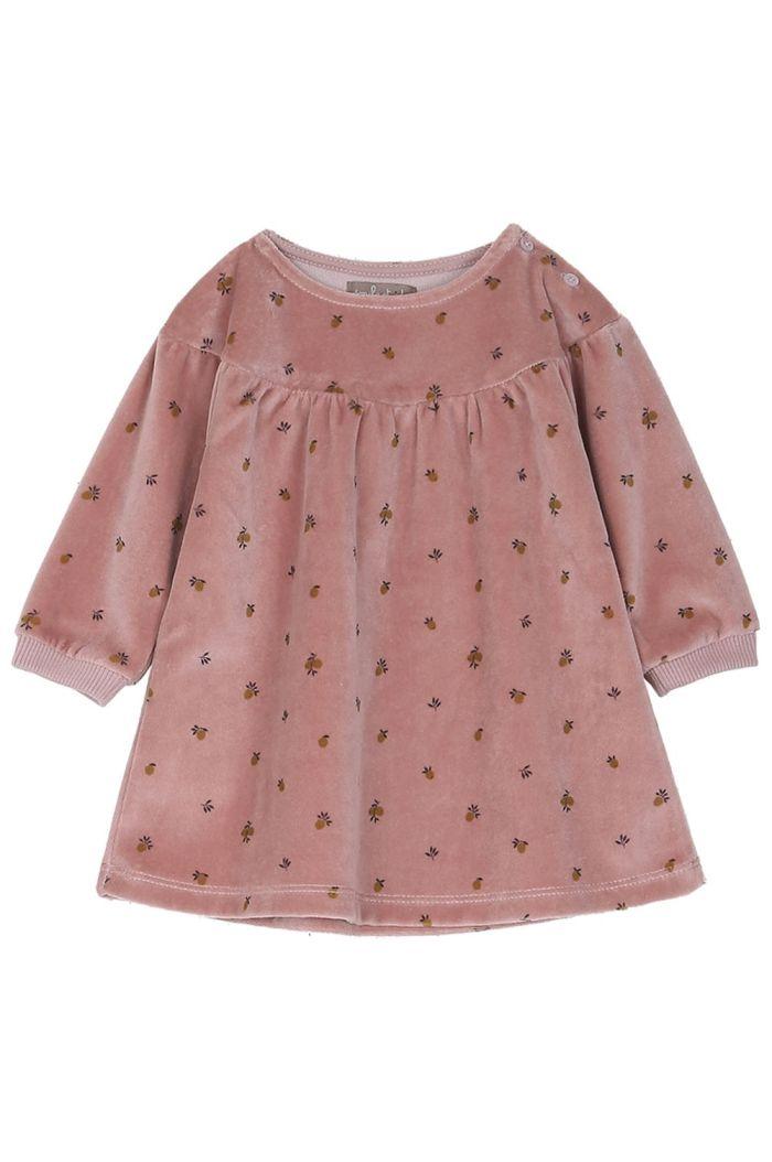 Emile et Ida Dress Baby Velours Imprime Mirabelle Bois_1