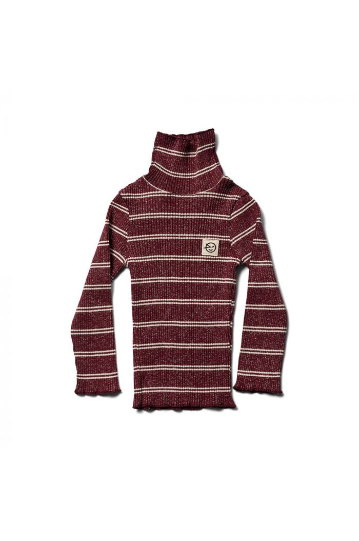 Wynken Roll Neck Top Burgundy / Ecru Sparkle Stripe_1