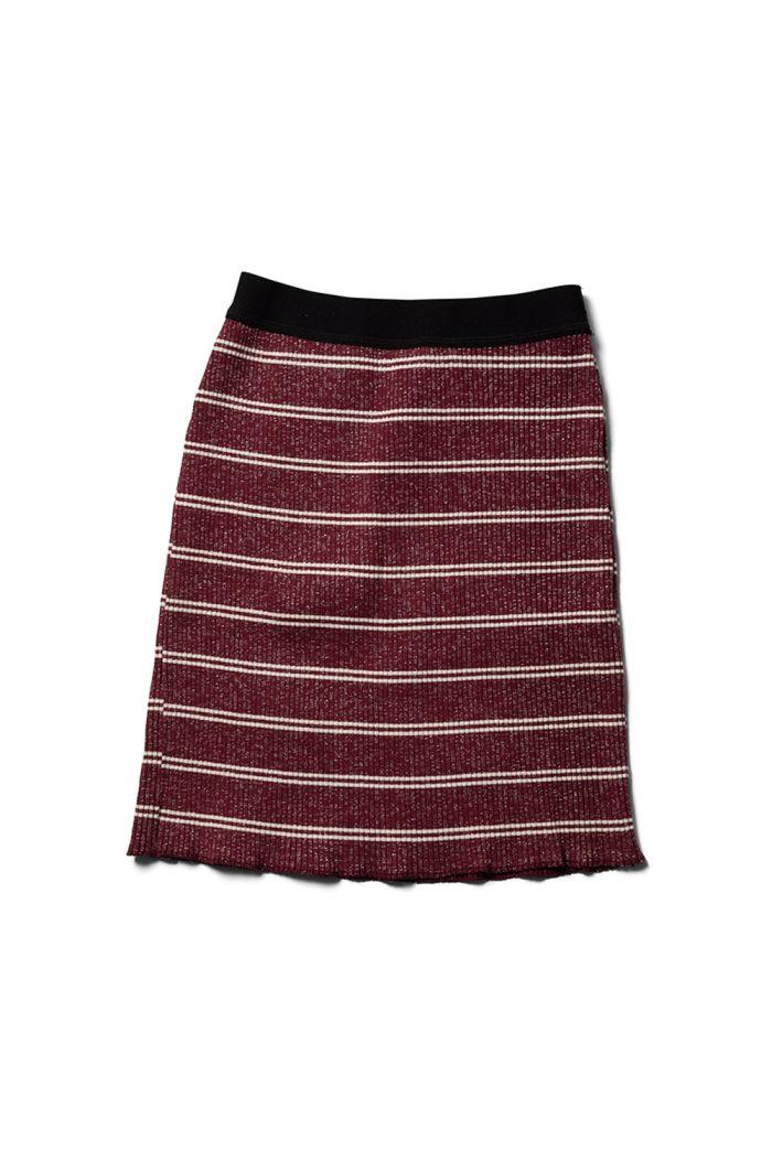 Wynken Rib Skirt Burgundy / Ecru Sparkle Stripe_1
