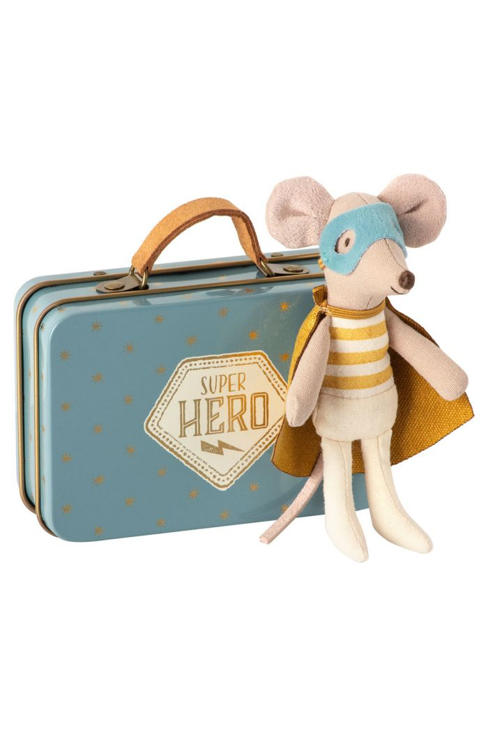Maileg Superhero mouse, Little brother in suitcase _1