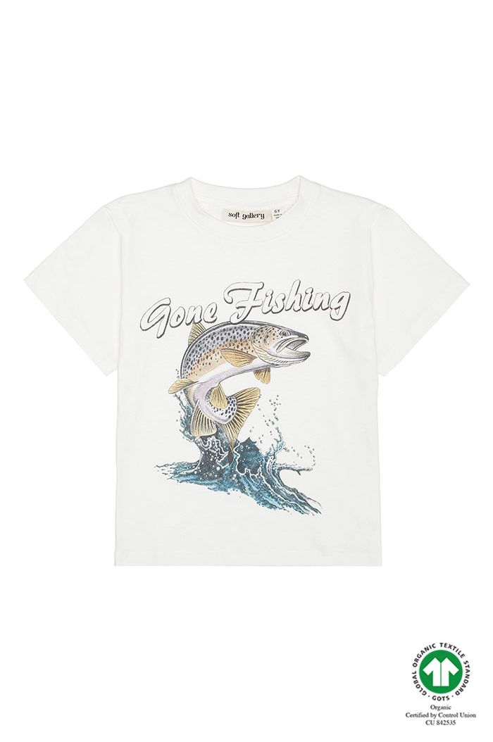 Soft Gallery Asger T-shirt White, Gone Fishing_1
