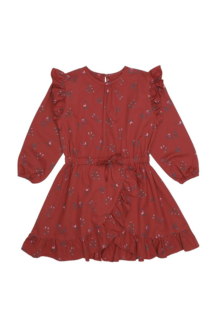 Soft Gallery Ea Dress Red Ochre, All-over print Cloudberry_1