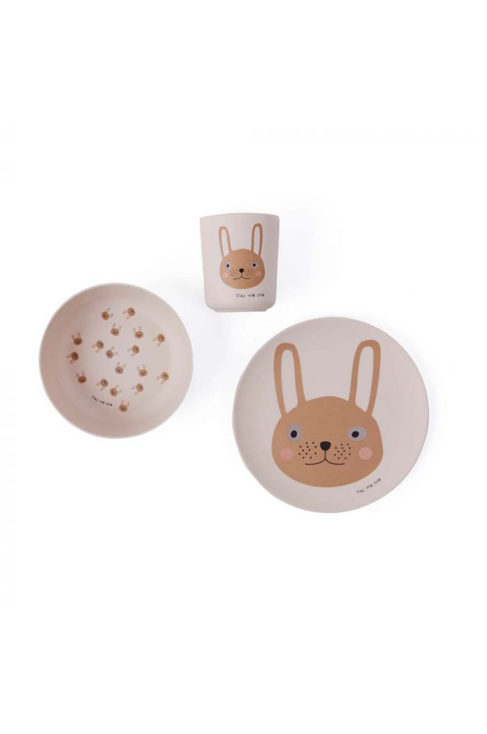 OYOY Rabbit Bamboo Tableware Set Rose_1