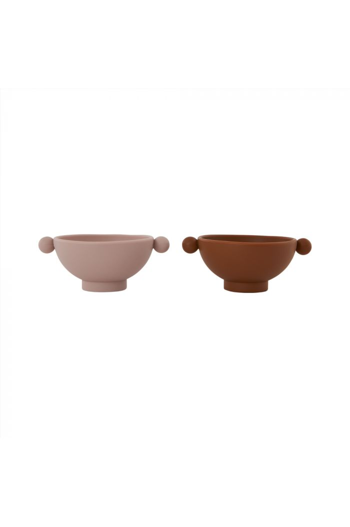 OYOY Tiny Inka Bowl, Pack of 2 Caramel / Rose_1