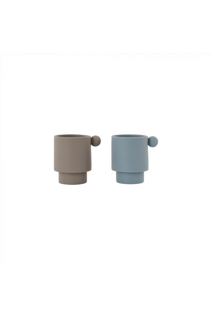 OYOY Tiny Inka Cup, Pack of 2 Dusty Blue / Clay_1