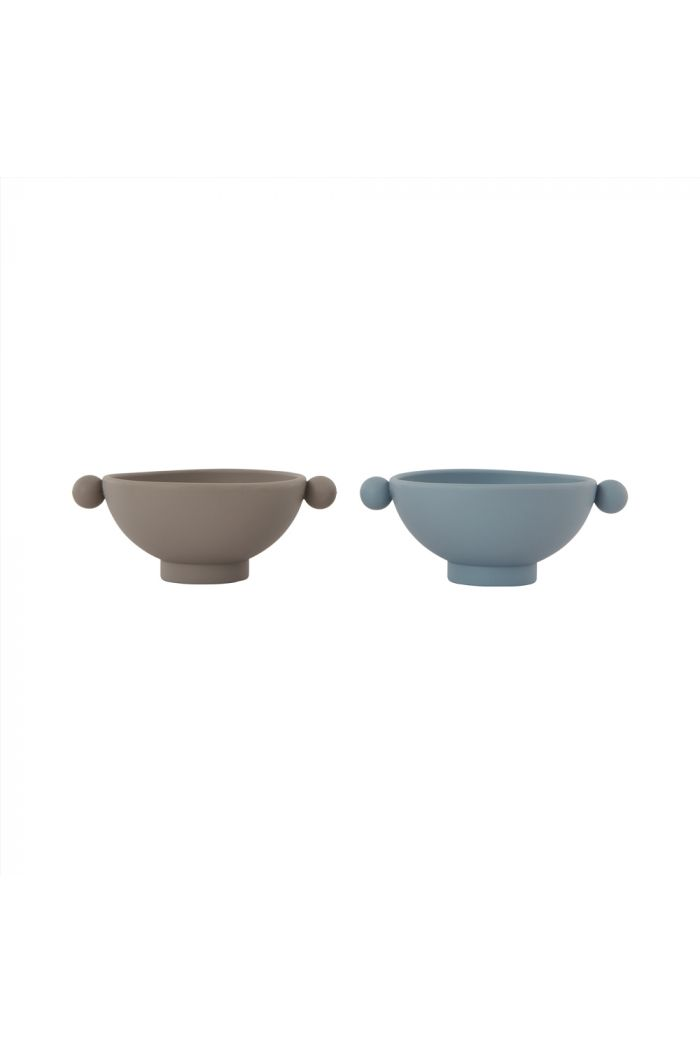 OYOY Tiny Inka Bowl, Pack of 2 Dusty Blue / Clay_1