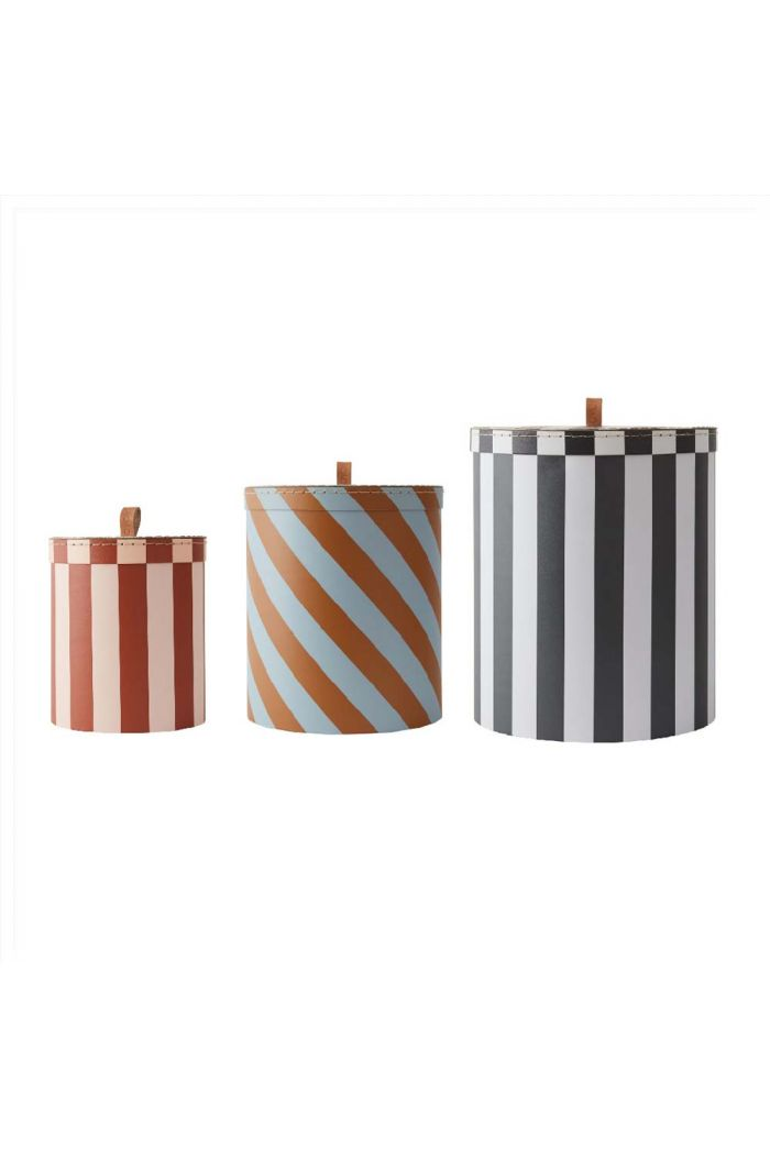 OYOY Storage Box - Round - Stripe - Set of 3 _1