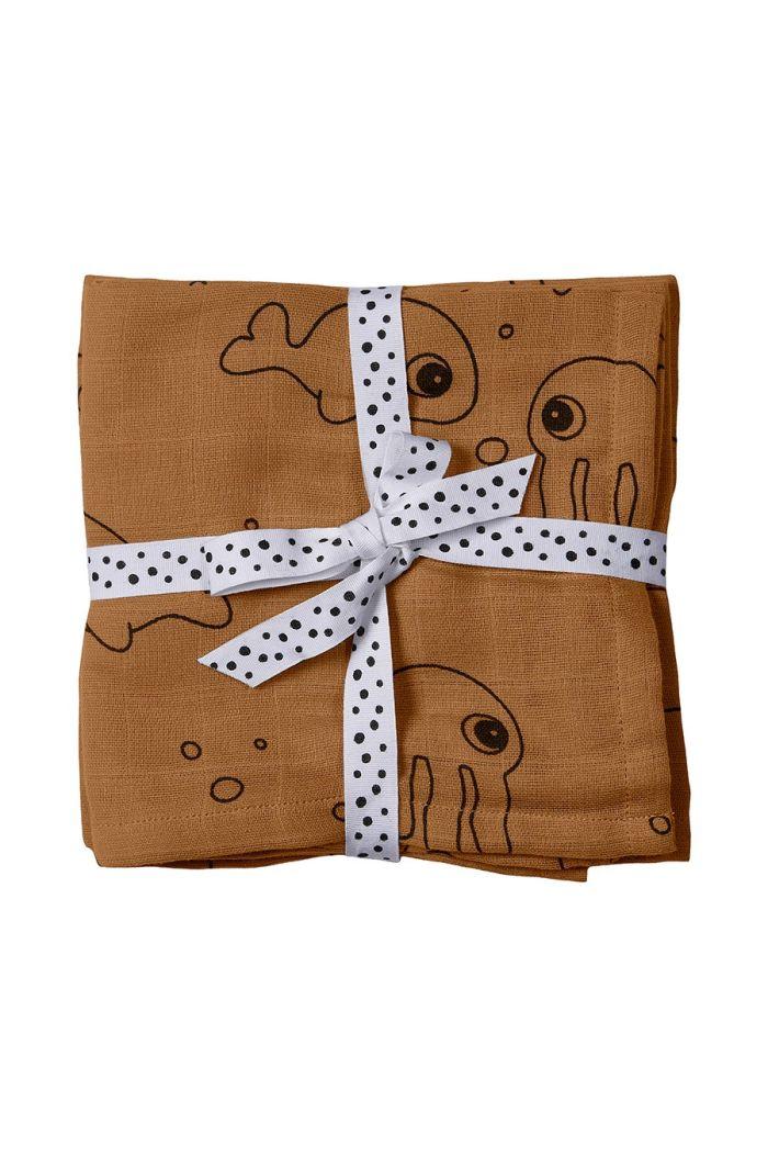 Done by Deer Burp cloth 2-pack Sea friends Mustard