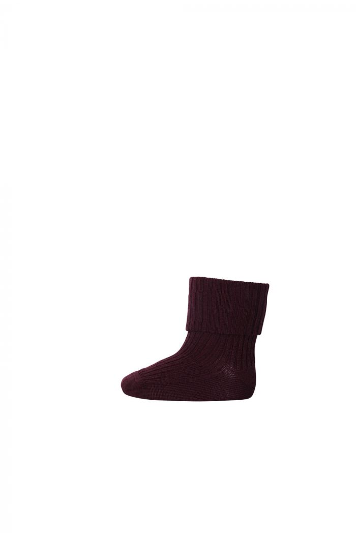 MP Denmark Ankle socks Wool Rib Turn Down 16 Auberginee_1