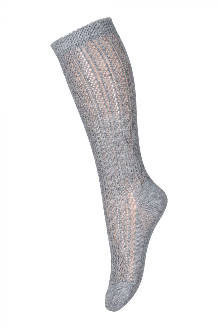 MP Denmark Paeonia knee socks 491 Grey Melange_1