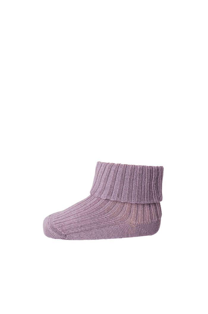 MP Denmark Rib wool baby socks 4219 Grape shake