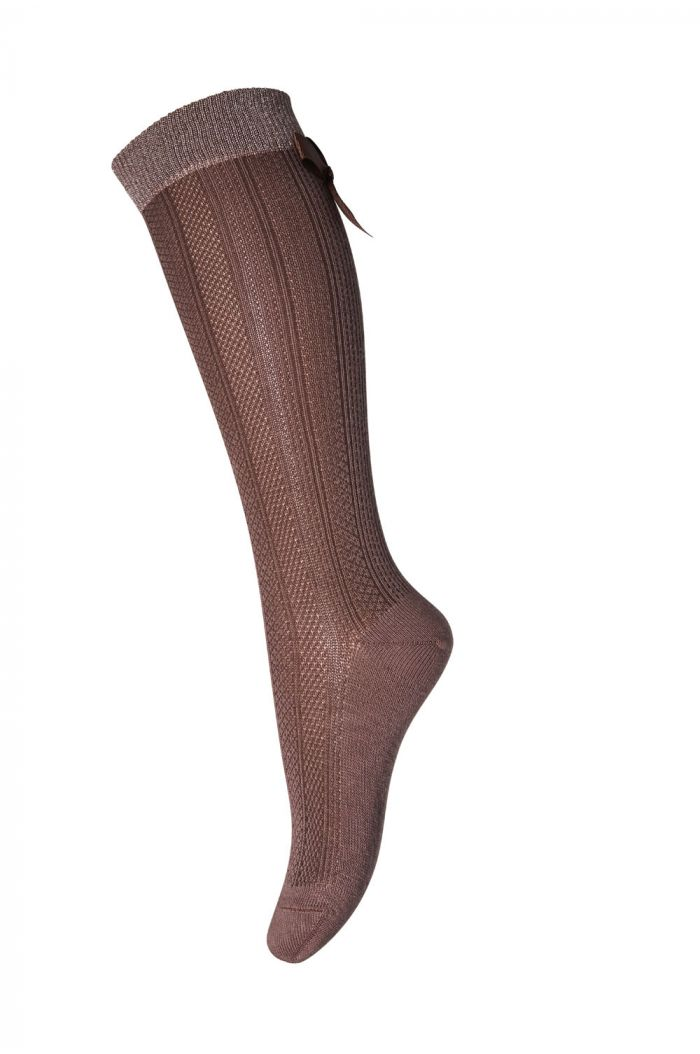 MP Denmark Knee socks Gabby  Bow 76 Sienna Brown_2
