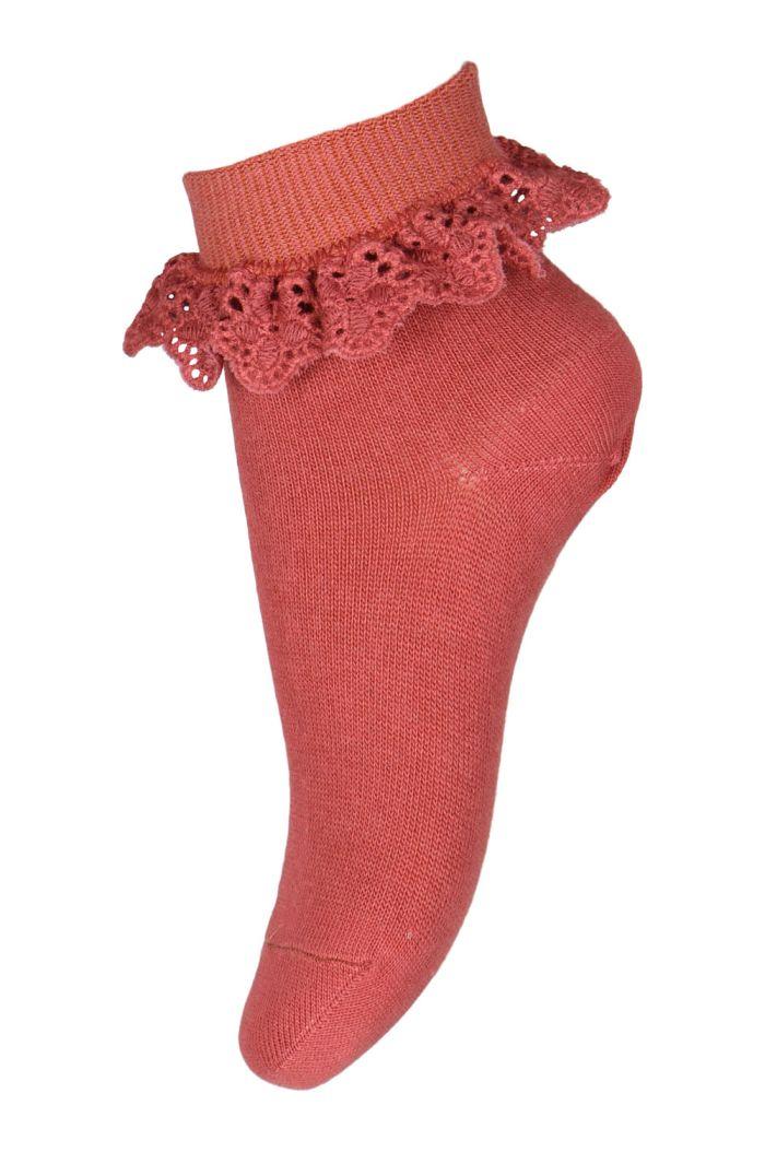 MP Denmark Filippa socks with lace 4270 Marsala_1