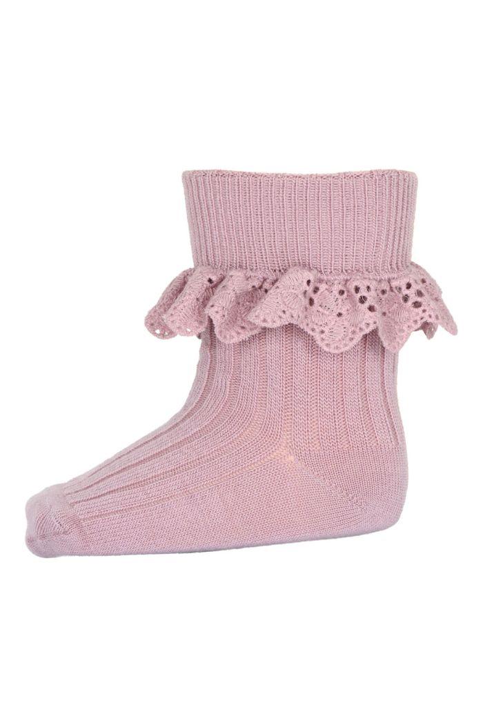 MP Denmark Lea socks with lace 188 Wood Rose