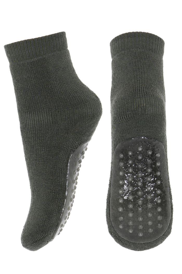 MP Denmark Wool/cotton socks with anti-slip 27 Dusty Ivy