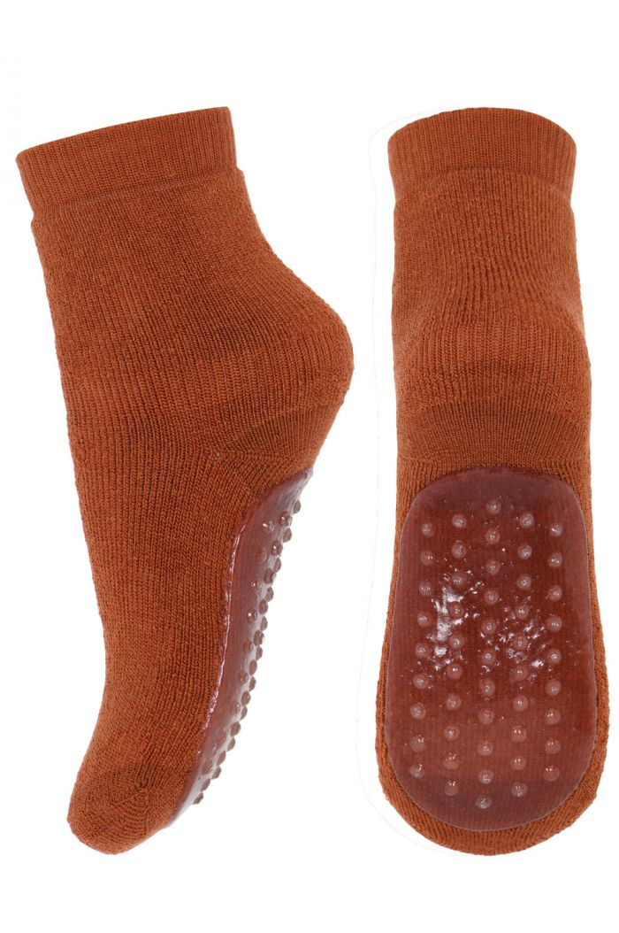 MP Denmark Wool/cotton socks with anti-slip 1393 Sienna