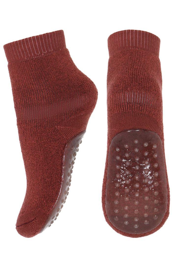 MP Denmark Wool/cotton socks with anti-slip 4195 Dark brick