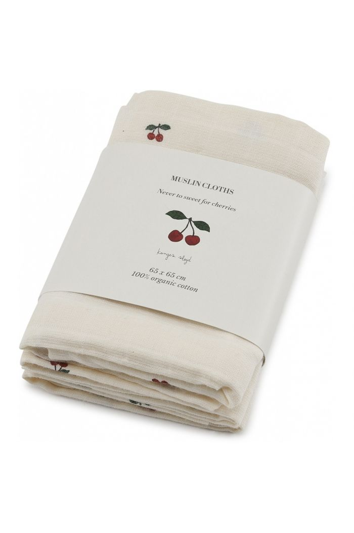 Konges Sløjd 3 Pack Muslin Cloths Cherry
