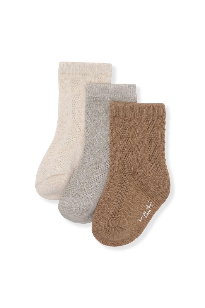 Konges Sløjd 3 Pack Pointelle Socks Almond, Paloma Grey, Creme_1