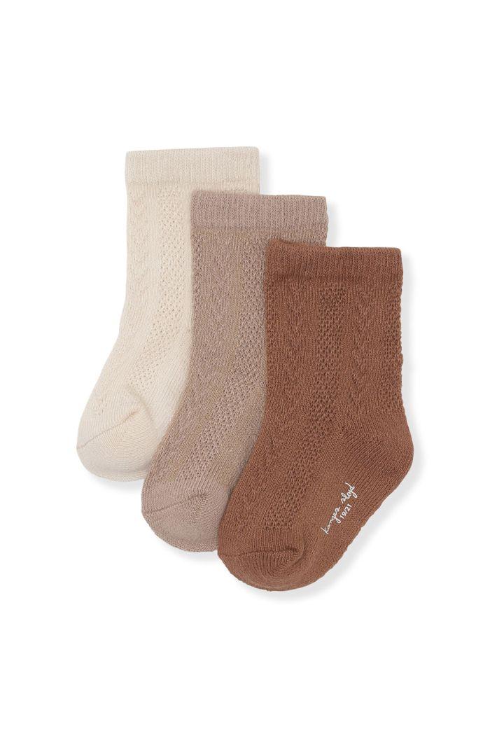 Konges Sløjd 3 Pack Pointelle Socks Mocca, Hazel, Creme_1
